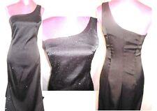 NEW Rampage 1 shoulder Black satin dress Wedding Formal evening party Gown  SZ 7