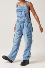 New Time is Money Designer Mens Denim Stonewash Blue Dungarees Dungaree Overalls