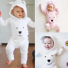 Newborn Infant Baby Boy Girl Hooded Cartoon Romper Jumpsuit Outfits Bodysuit