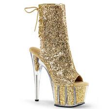 "Adore 1018 Glitter Gold Ankle Boot 7"" High Heel Platform Shoes Heels Boots"