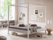 Himmelbett Sabri Kernbuche weiß Größe nach Wahl Massivholzbett Doppelbett Bett