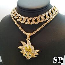 """Hip Hop SON GOKU pendant w/ 18"""" Full Iced Cuban & 1 ROW DIAMOND Choker Chain Set"""