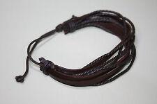 Genuine Leather Bracelet Wrist Wrap Hemp Surfer Braided Cuff Black & Brown B1
