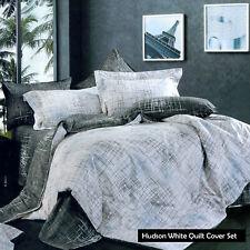 250Tc 100% Cotton Hudson Stripe Quilt Cover Set - Single Double Queen King