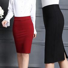 Nuevo para mujer de la alta cintura Llano Midi Lápiz Bodycon falda de oficina de trabajo con cremallera
