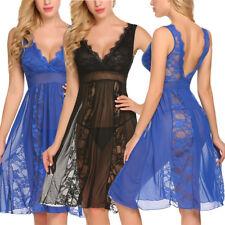 US Women's Sexy Lingerie Long Lace Robe Sleepwear Babydoll Nightgown Plus Size