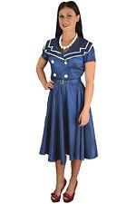 Vintage Retro Navy Sailor dress 1940s SWING FLARED PARTY retro Dress
