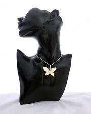 Anhänger Schmetterling, echtes Perlmutt, Naturmaterial, silberne Kette, Boho