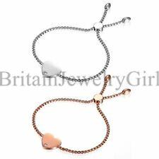 Women's Ladies Stainless Steel Love Heart Dangle Promise Chain Bracelet Bangle