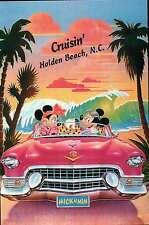 "Mickey, Minnie "" Cruisin' "" Holden Beach, NC, Pink Cadillac Walt Disney Postcard"