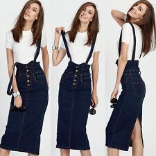 Women's Denim Strap Dress Slim One Step High Waist Suspender Skintight Skirt HOT
