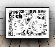 Bicicleta Ciclismo 1: términos y palabras escrita en cartel, Pared Arte.