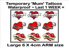 MUM HEART  temporary TATTOOS X3  LARGE ARM size waterproof  LAST 1 WEEK+