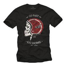 Biker Herren T-Shirt mit Skull & Motorradhelm - Männer Motorradbekleidung Shirt