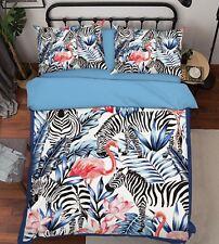 3D Flamingo Lotus Zebra 6 Bed Pillowcases Quilt Duvet Cover Set Single Queen US