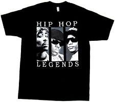 HIP HOP LEGENDS T-shirt 2Pac Tupac Biggie EazyE Adult Mens S-2XL Black New