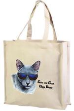 CARTONE Animato Gatto, RUSSO Blu Cool Gatto, Cotone Shopping Bag-scelta di colori.