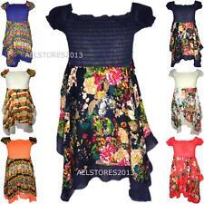 Filles Paisley Floral Hanky manches courtes Mouchoir ourlet robe Sun 3-10 ans