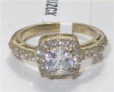 1899 WOMENS ENGAGEMENT CUSHION CUT SIMULATED DIAMOND RING PRETTY GOLD STEEL