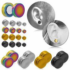 2x Magnet Ohrstecker Ohrringe Fakeplugs Tunnel Clip Piercing 6-12mm Schwarz Weiß