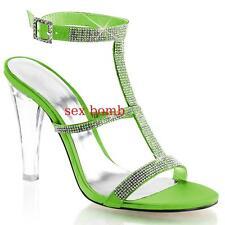SEXY sandali STRASS tacco 11,5 dal 35 al 42 VERDE MELA/TRASPARENTE chic GLAMOUR