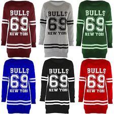 Ladies Basketball American Sports 69 Bulls New York Sweatshirt Jumpers Tops