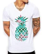 !!CLEARANCE SALE!! Flamingo Pineapple V Neck T Shirt Distinkt !!CHEAP!!