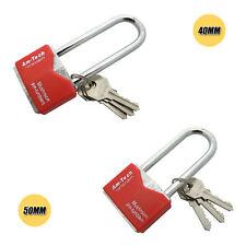 Iron Padlock Security Long Shackle Chrome Plated 40mm-50mm, 3 Keys Amtech