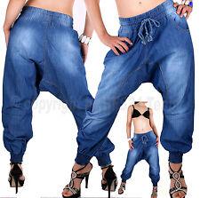 Haremshose Pumphose Pluder Boyfriend Sarouel-Aladin Harem Kordelzug Jeans S-XXL