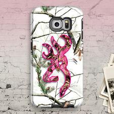 Deer Head Camo Pink Snow Galaxy S8 S7 S6 Edge S5 S4 S8 plus Hybrid Tough Case