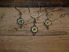 Handmade Bullet Gold Necklace & Earrings, Brass 9's & Crystal S-611