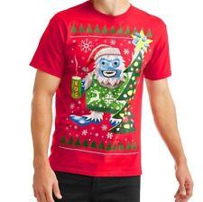 Men's Yeti Wearing Christmas Sweater Drinking Eggnog Ugly T-Shirt Size M-XL