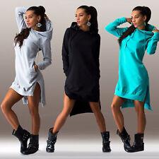 Women Winter Hooded Dress Asymmetric Jumper Long Tops Sweater Ladies Sweatshirt