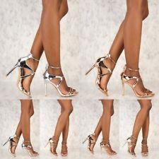 Open Toe Metallic Faux leather Stiletto High Heels Women Fashion shoes Sandals