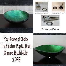 Bathroom Artistic Green Glass Vessel Sink 9049