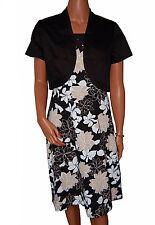 BN Mujer 2pc Negro Vestido De Noche & Chaqueta - UK 10/12 , 14 & 16