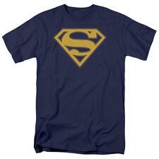 """Superman Maize & Blue Shield """"Navy"""" Color T-Shirt DC Comics Sizes S-3X NEW"""