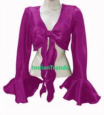 Violet Red Satin Belly Dance Tie Top Wrap Gypsy Haut Orientale Blouse Ruffle