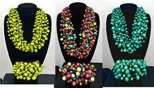 Bali 15 Double Strand Wood Bead Macrame Statement Necklace Bracelet Set