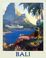 Bali Indonesian island Airplane Ocean Sea Travel Vintage Poster Repro FREE S/H