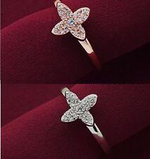 anello da donna a forma fiori in argento 925 rodianto oro bianco con brillante