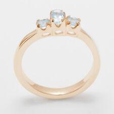 9ct Rose Gold Natural Aquamarine Womens Trilogy Ring - Sizes J to Z