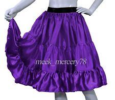 Purple  Satin 3 Layer Short skirt Belly Dance Tiered casual skirt Sexy Dress