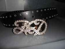 NOS Harley Davidson Womens H-D Crystal Buckle Black Leather Belt 97654-12VW0S