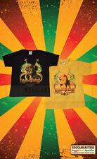 Lion de Juda avec deux drapeaux Jaune T-shirt-uni Dos-Roots Rasta Reggae
