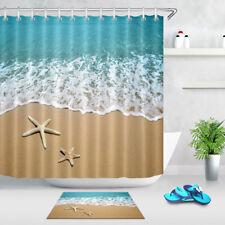 Starfish Beach Sea Shower Curtain Liner Bathroom Mat Set Polyester Fabric Hooks