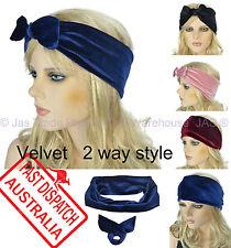 Velvet  Boho Bohemian Hair Head Band Detachable Bow Reversible Turban Headband
