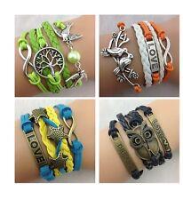 Infinity Bracelet Charm Green Blue Orange Bronze Owl Dove Love Dream Starfish