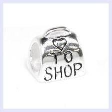 STR Silver Love to Shop Purse Luggage Handbag Bead for European Charm Bracelet