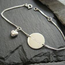 1,5 cm Gravurplatte Armband & Herz in 925er Silber, Gravur Namensarmband, GA-24